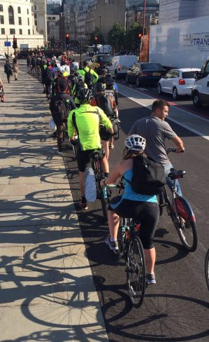 The cycle superhighway at Blackfriars this morning, demonstrating the massive demand for safe cycling provision in our city