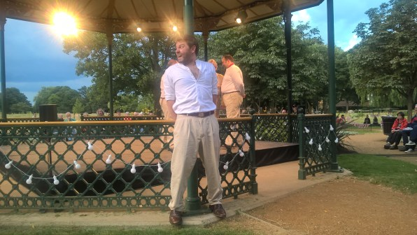 """""""Paul Grice as Benedick possesses the stage, and the audience"""" in this CODA performance at the Wandle Park Bandstand"""