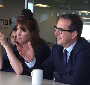 Brief encounter: Sarah Jones meets Owen Smith on Tuesday. She forgot to tell her CLP of the visit