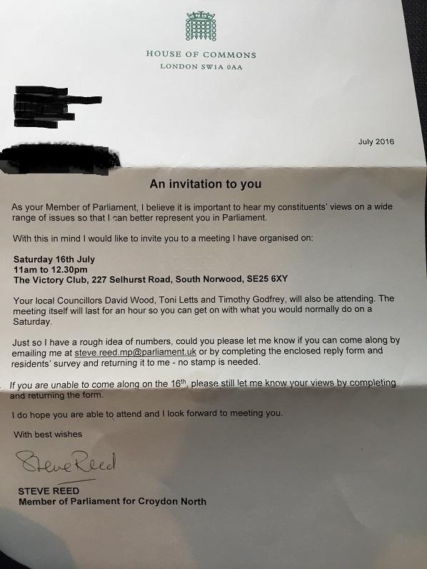Steve Reed letter