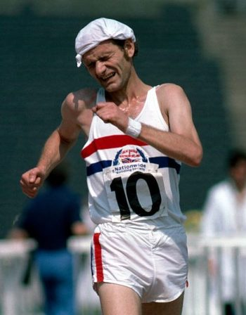 Paul Nihill winning a race at Crystal Palace in the 1970s, an era when Britain excelled at reacewalking
