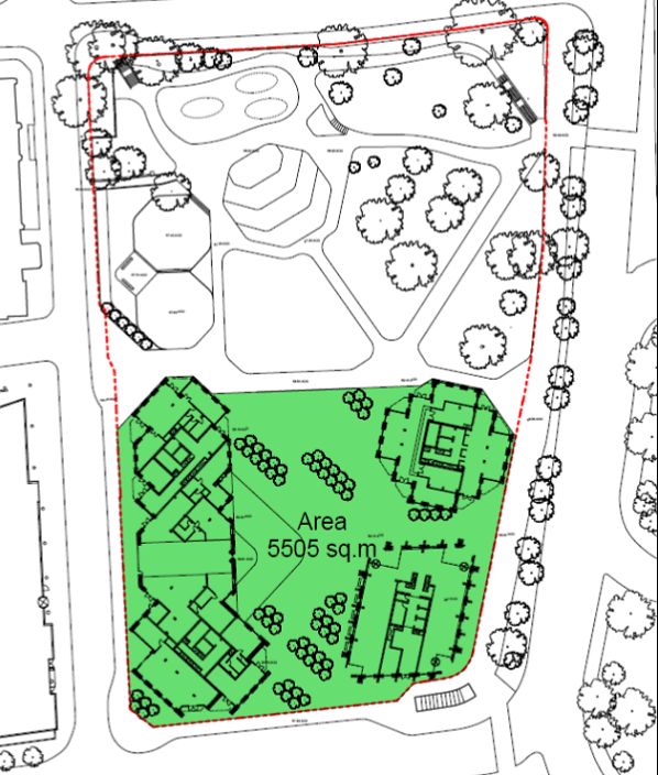 The Taberner Housse site (shaded green), with four housing blocks, and Queen's Gardens to the north, as mapped in the council report in July 2015