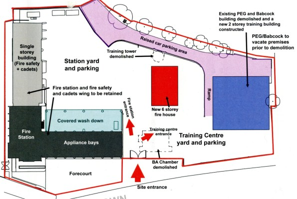 The detailed map of Croydon fire station, showing the positioning of the fire tower and other developments