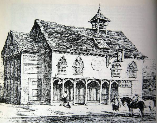 """The Market House, Butcher's Row, Croydon, c1800. What provision has been made to create a civic """"town centre"""" in the 21st century regeneration plans?"""