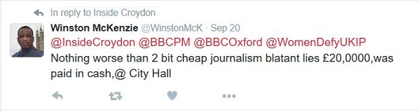 Winston McKenzie's tweet from last month, where he claimed he had paid £20,000 in cash at City Hall