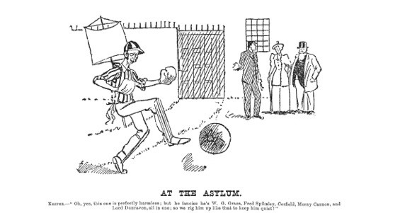 Fred Spiksley was so famous at the end of the 19th century, cartoonists compared him to cricketer WG Grace