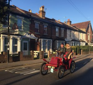 The 2016 London to Brighton Veteran Car Run reaches South Croydon