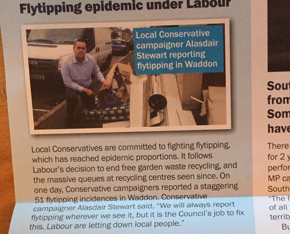 Devious, and more than a touch dishonest: Croydon South MP Chris Philp's latest leaflet mentions 51 fly tip incidents in Waddon. It fails to mention that 48 of them were cleaned up by the council