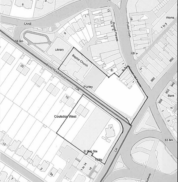 A map of the Purley Baptist Church's town centre scheme, as submitted with the planning application to last night's meeting