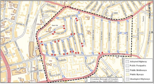 The affected roads and the council's belated decision to consult the whole area, while protecting the one-way system down Lebanon Road