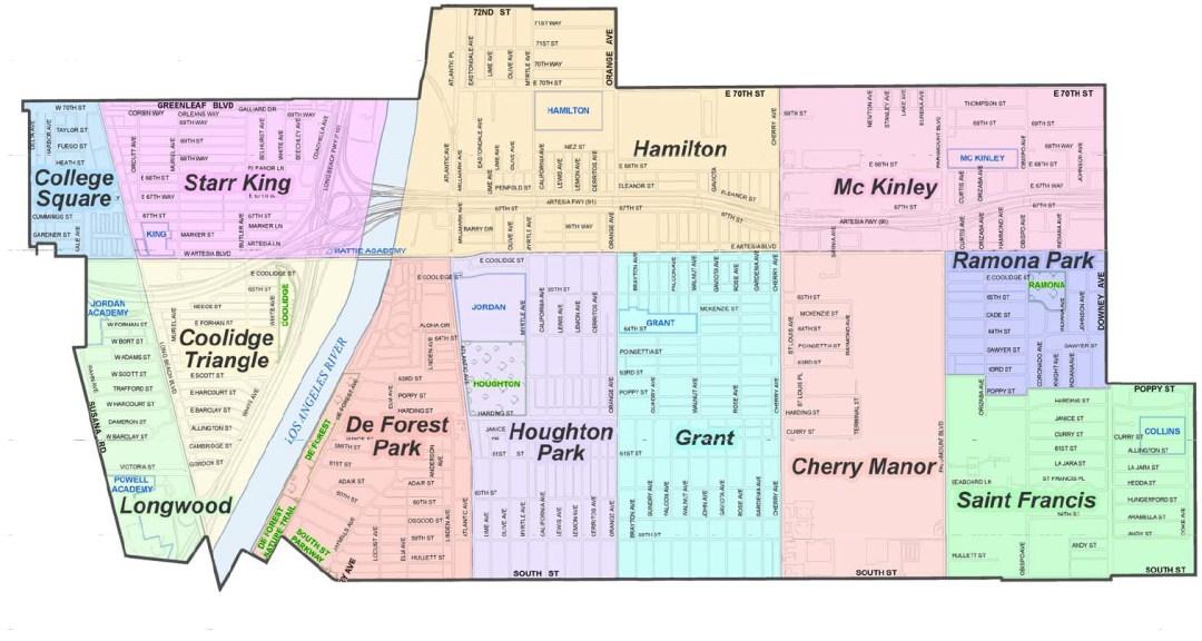 Map of Long Beach Districts