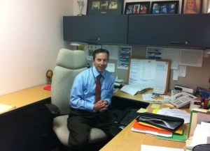 EWTN Director of Programming & Production Peter Gagnon at his desk at the Network's headquarters in Irondale, Alabama