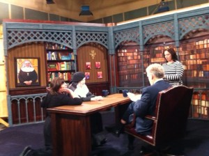 "Mother Dolores and her assistant, Judith Pinco, on the ""Bookmark"" set with Host Doug Keck and Producer Kathy Ranelli."