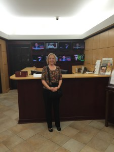 "Susan Brinkmann, ""Women of Grace"" journalist and author of a new book on the New Age entitled ""Learn to Discern,"" shown here in EWTN's lobby just after filming a new episode for WOG."