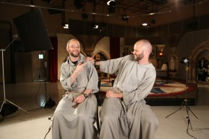 Your eyes do not deceive you! These friars are actually twins, who know each other so well, they can and do complete each other's sentences!