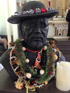 St. Damien statue in St. Philomen Church built by St. Damien in Kalawao- exile leper colony