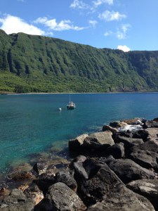 View of cliffs St. Damien summited once a week from Kaluapapa and Kalawao to the rest of Molokai 2