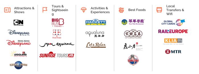 Klook's travel service providers