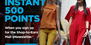 Instant 500 points for signing up for shopping newsletter 2016
