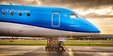 Embraer A190 in KLM livery parked at Amsterdam Airport Schiphol (Source: KLM)