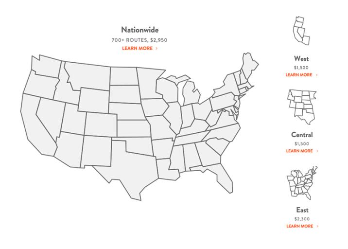 Het prijsmodel voor OneGo airfare, een abonnement voor onbeperkt binnen Amerika vliegen.