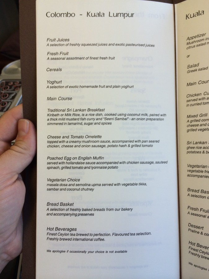 Menukaart SriLankan Airlines