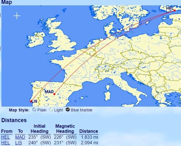 Helsinki naar Madrid of Lissabon