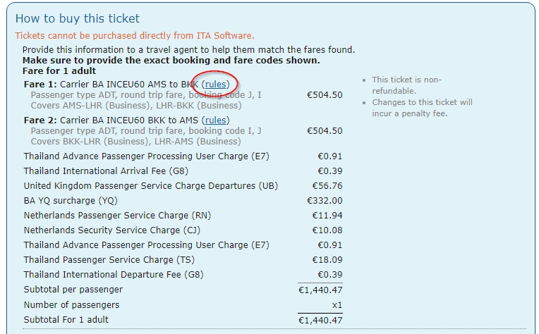 Matrix - ITA Software by Google fare rules