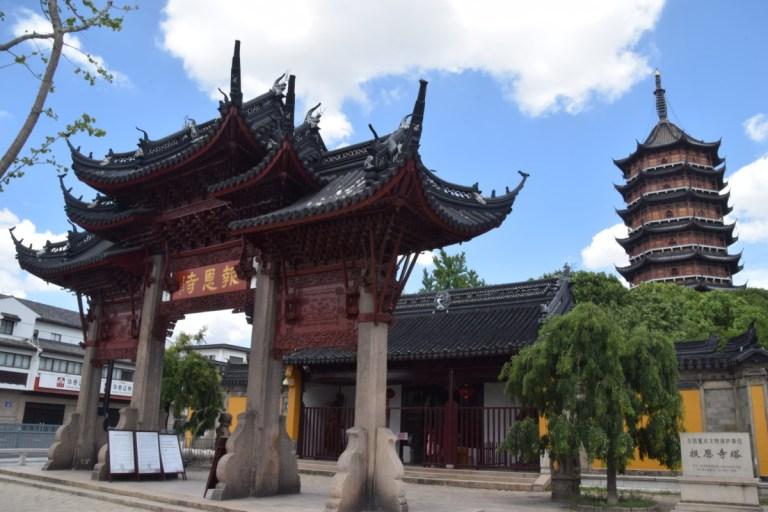 Een van de vele tempels en pagodes in Suzhou