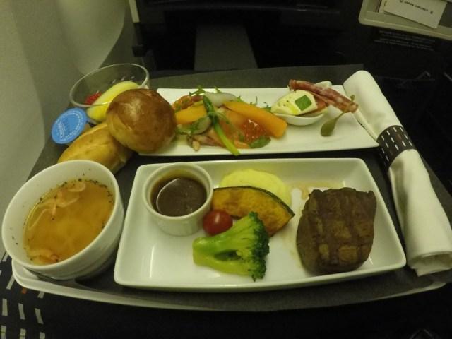 Japan airlines, business class, maaltijd