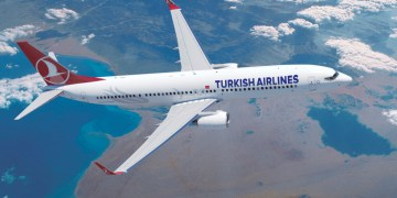 Boeing 737 van Turkish Airlines boven de Rode Zee (Bron: Turkish Airlines)