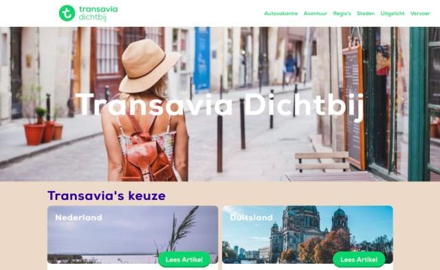 Transavia Dichtbij is het nieuwe reisplatform waarmee je ook reizen zonder vliegtuig kun boeken (Bron: Transavia)