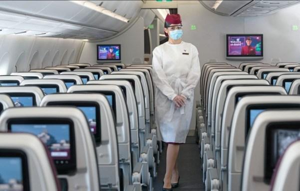 Nu ook spatmaskers bij Qatar Airways verplicht