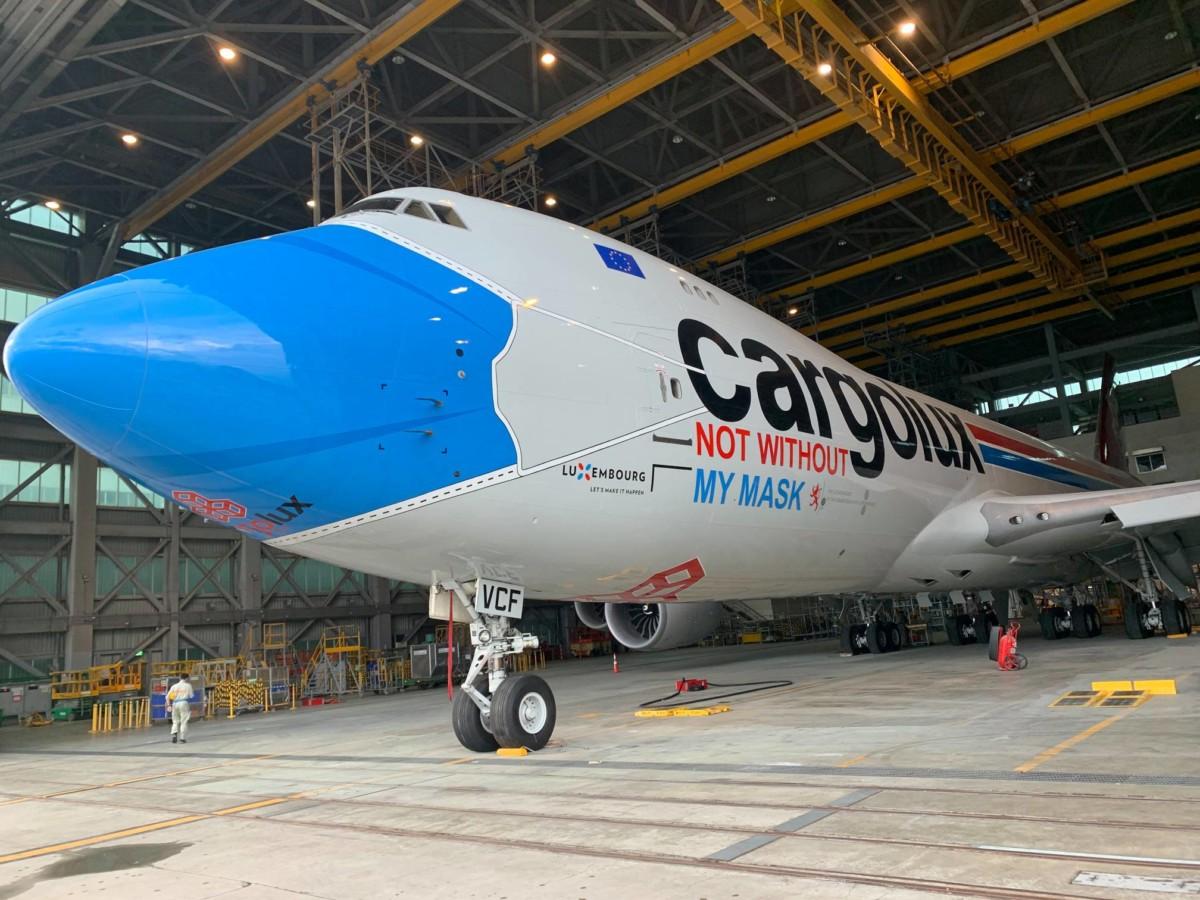 Opmerkelijk: Cargolux's 747 vliegt met een mondkapje rond