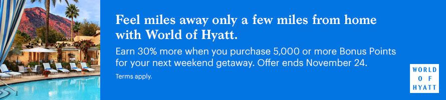 World of Hyatt - koop punten met 30% bonus
