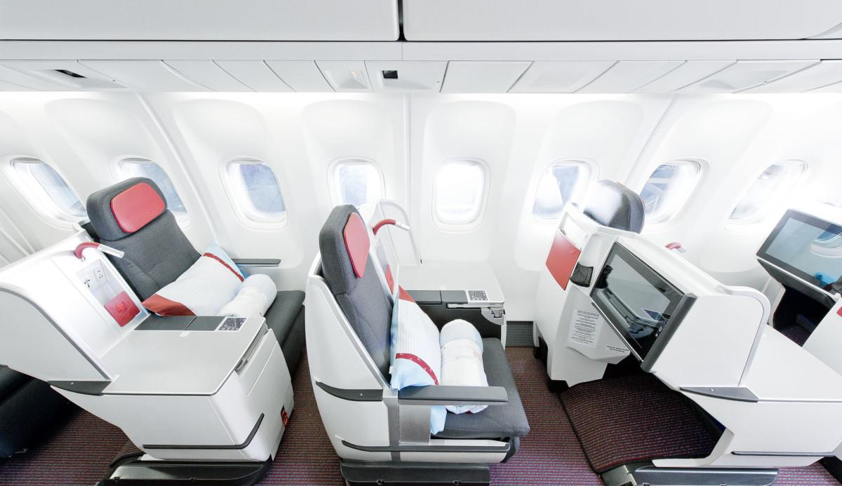 Austrian Airlines Business Class cabine zoals die er ook in de Boeing 767 uitziet (Bron: Austrian Airlines)