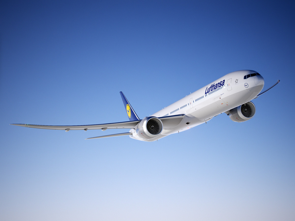 Rendering van een Boeing 777X in Lufthansa livery (Bron: Lufthansa)