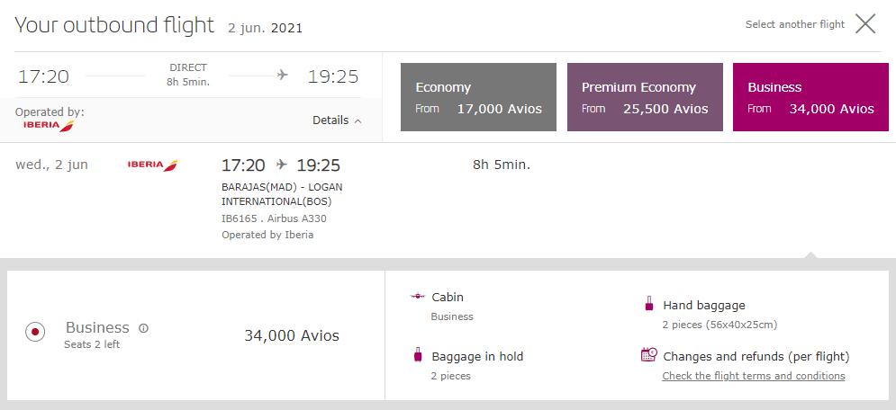 Iberia Business Class ticket