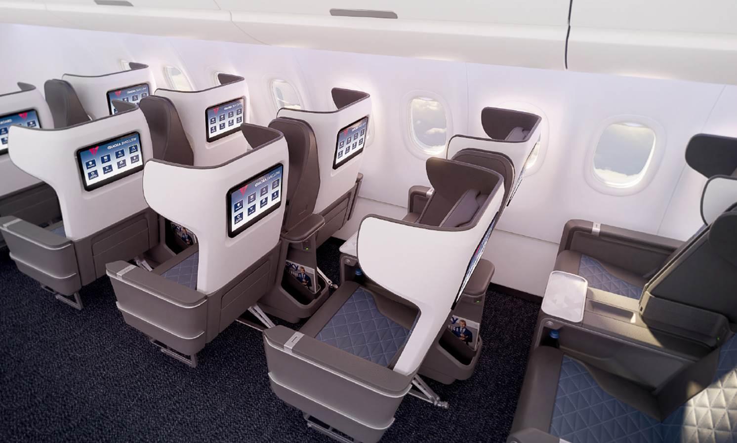 First Class cabine aan boord van de Airbus A321neo van Delta (Bron: Delta)