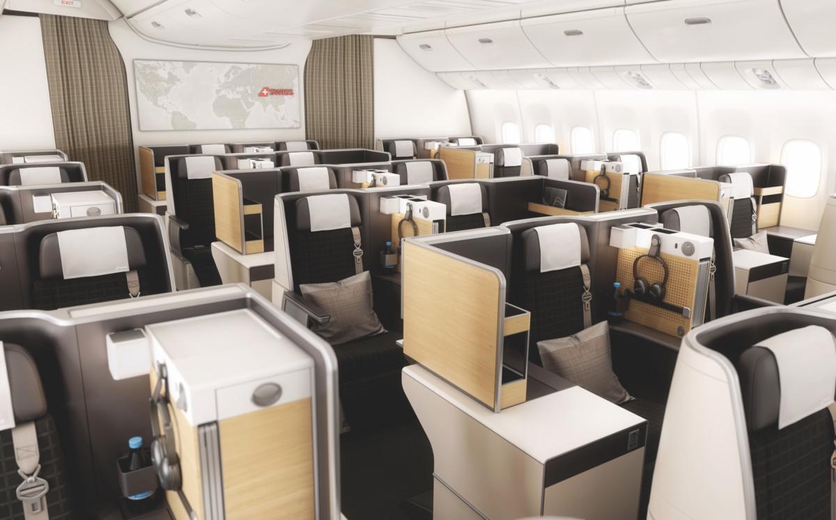 Business class cabine aan boord van de SWISS Boeing 777 (Bron: SWISS)