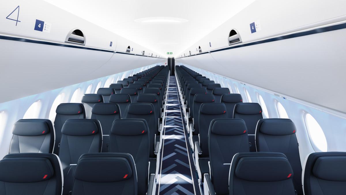 Cabine van de nieuwe Airbus A220-300 van Air France (Bron: Air France)