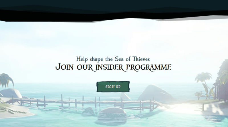 Sea of Thieves Insider signup screenshot