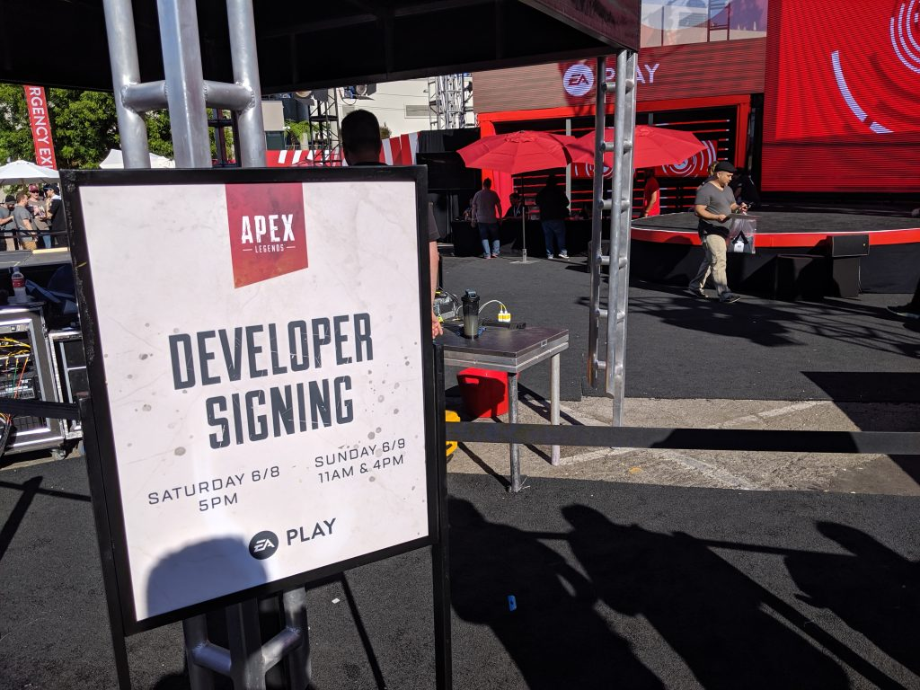 Developer Signing sign at EA Play 2019