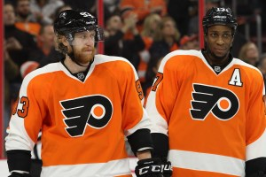 Center Claude Giroux 28 Of The Philadelphia Flyers Gives A Post Game Interview In Locker Room