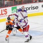 NHL 2015 - Sept 22 - NYR vs PHI - Defenseman Brett Bellemore (#39) of the New York Rangers shoves Center R.J. Umberger (#20) of the Philadelphia Flyers
