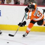 NHL 2015 - Sept 22 - NYR vs PHI - Defenseman Shayne Gostisbehere (#53) of the Philadelphia Flyers shoots the puck