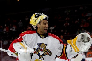 Goalie Roberto Luongo (#1) of the Florida Panthers gets animated during the warm-ups