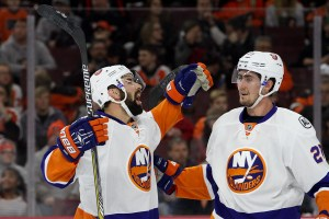 Defenseman Nick Leddy (#2) of the New York Islanders celebrates his goal with teammate Center Brock Nelson (#29) during the first period