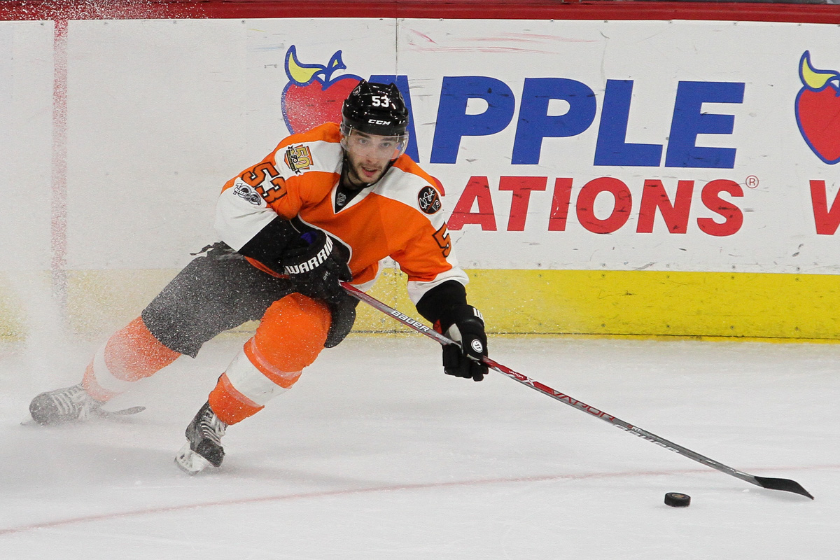 9f6134bee Defenseman Shayne Gostisbehere ( 53) of the Philadelphia Flyers stops with  the puck