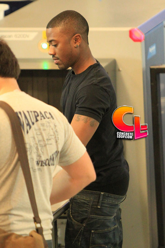 **EXCLUSIVE** Hip hop star Ray J strips down as he goes through security at LAX airport